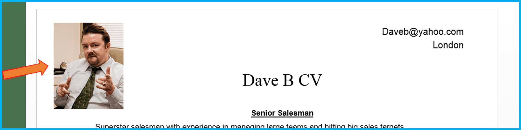 CV photo example