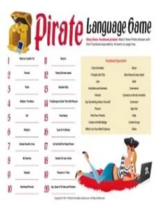 Pirate Language Game Printable Games