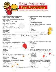Fast Food Nutrition Trivia Printable Games