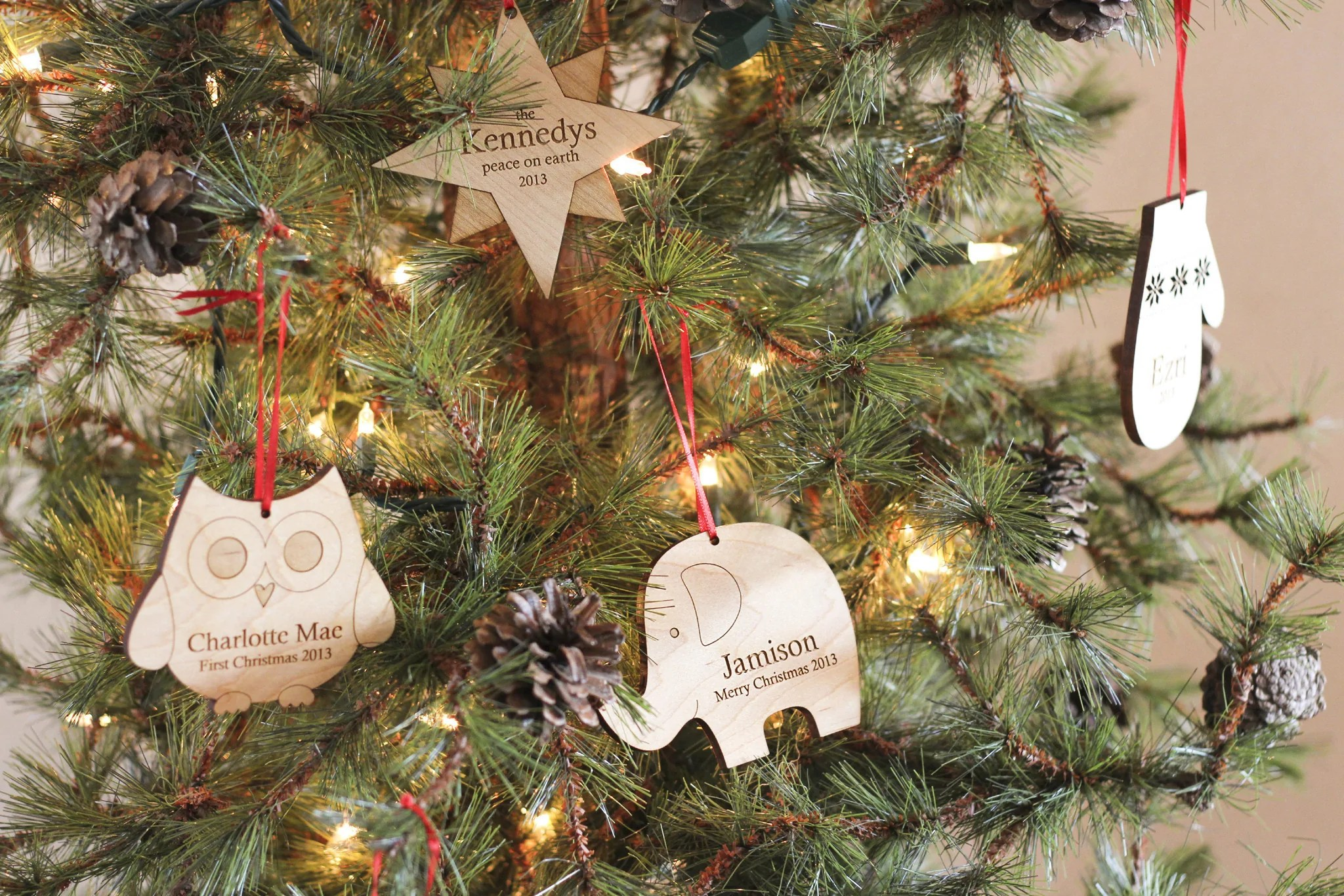 Personalized Christmas Tree Wooden Ornament Smiling Tree