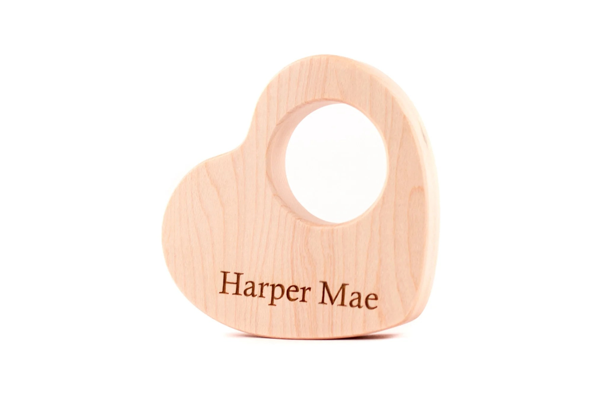 Personalized Heart Wood Teether All Natural Baby Toy