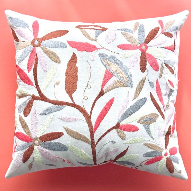 flower otomi pink brown pillow covers