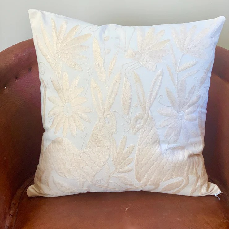 minimalist otomi cream pillow covers
