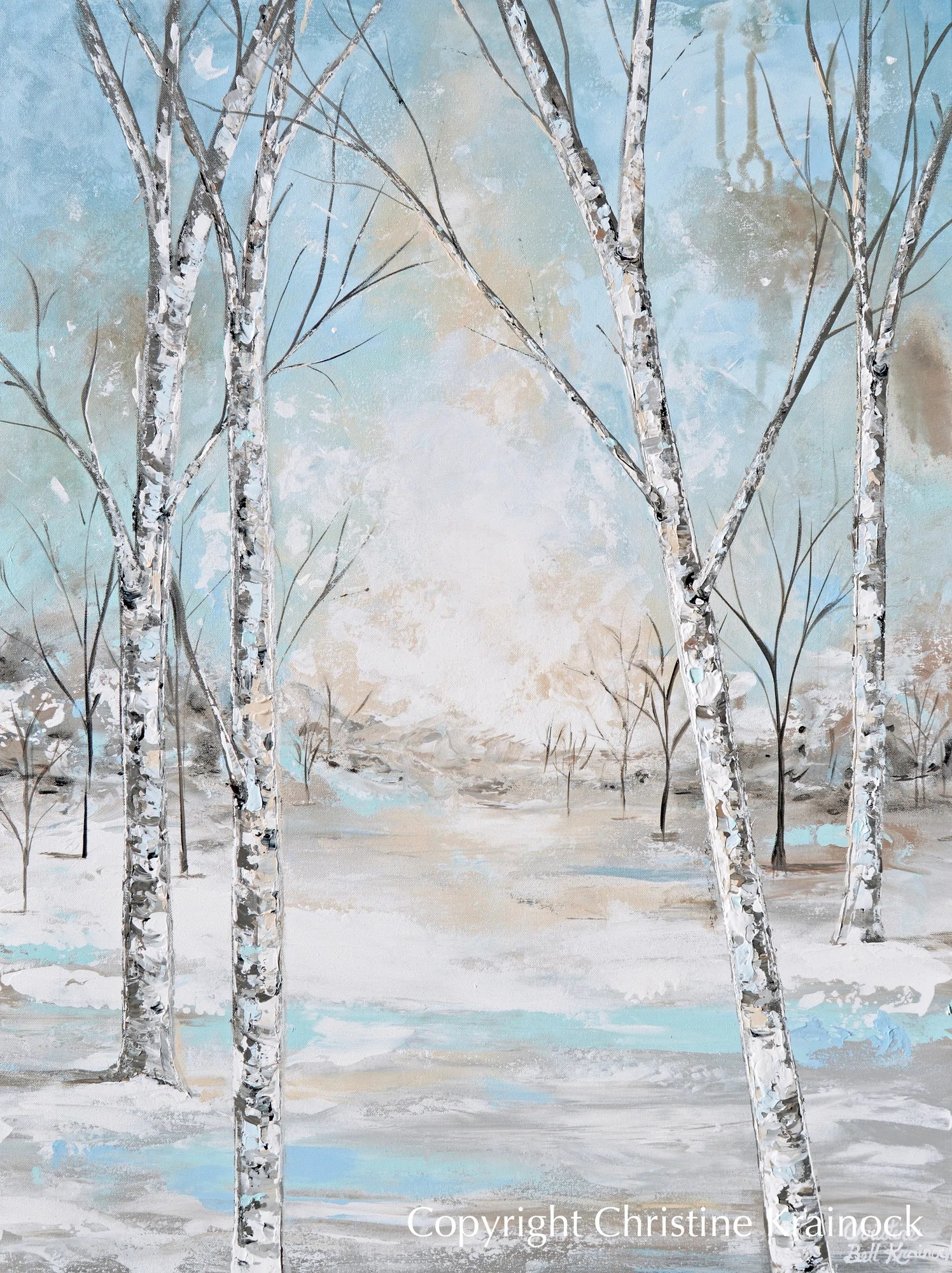 Canvas Print Art Abstract Painting Birch Trees Landscape Blue White Contemporary Art By Christine