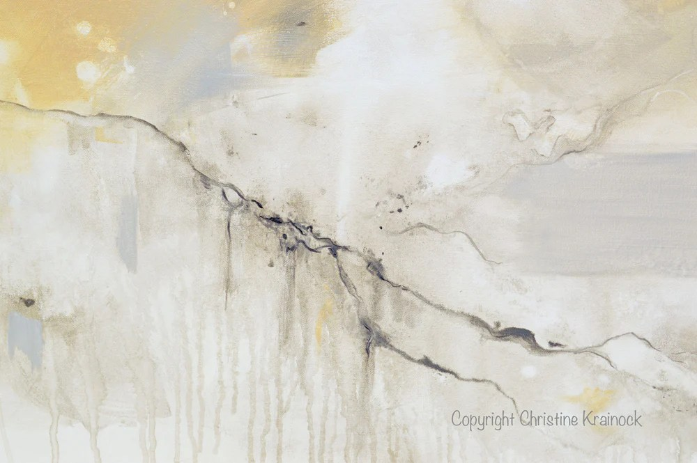 GICLEE PRINT Art White Grey Abstract Painting Modern
