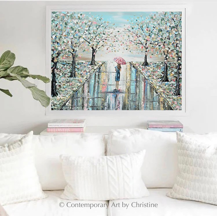 Original Art Abstract Painting Woman W Umbrella Trees Blue Green Pink Contemporary Art By Christine