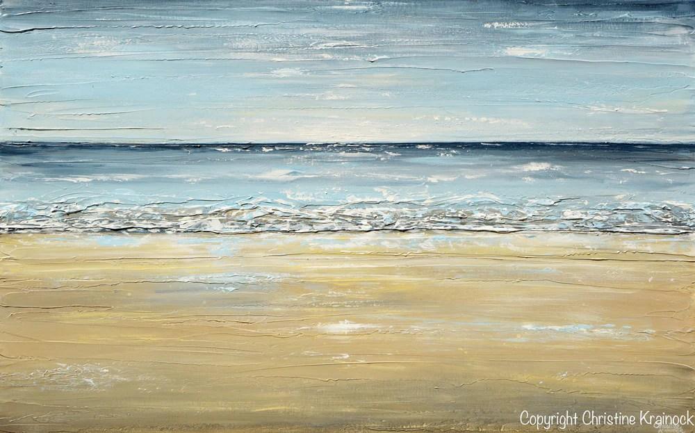 PRINT Fine Art Abstract Seascape Painting Beach Ocean Blue