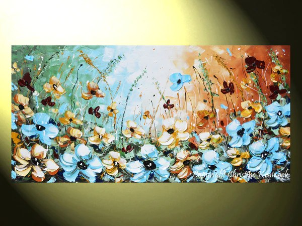 GICLEE PRINT Art Abstract Painting Blue Flowers Poppies