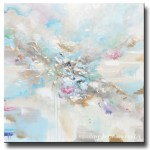 Original Art Abstract Light Blue White Painting Large 48x48
