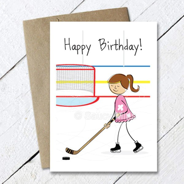 Girls Hockey Birthday Card Cartoon Saucy Mitts Hockey