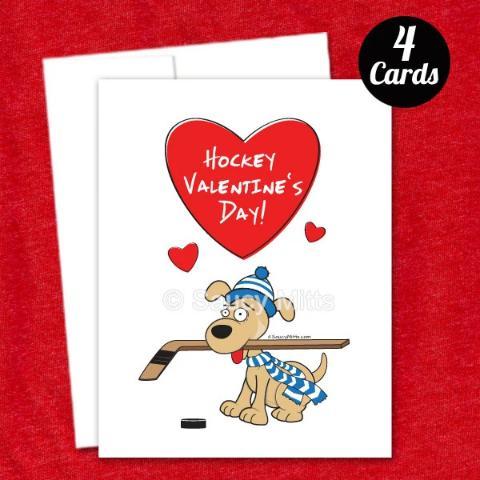 4 Hockey Dog Valentines Cards Saucy Mitts Hockey