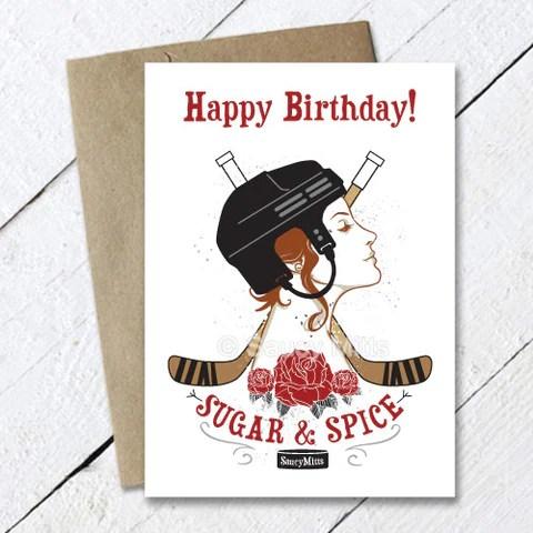 Hockey Birthday Cards Saucy Mitts Hockey
