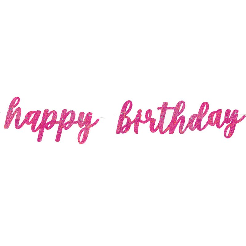 Happy Birthday Script Banner Pink Party Supplies Party Fever
