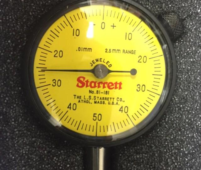 Starrett 81 181j Dial Indicator 2 5mm Range 0 01mm Graduation New