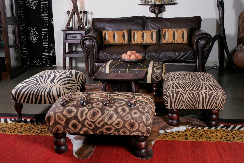 vintage african zebra print bench ottoman coffee table