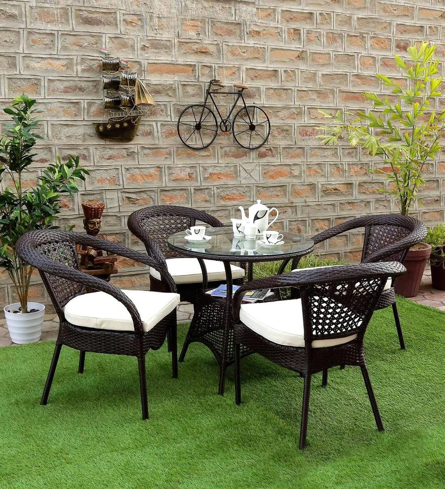 hindoro outdoor furniture garden patio seating set 1 4 4 chairs and table set balcony furniture coffee table set dark brown