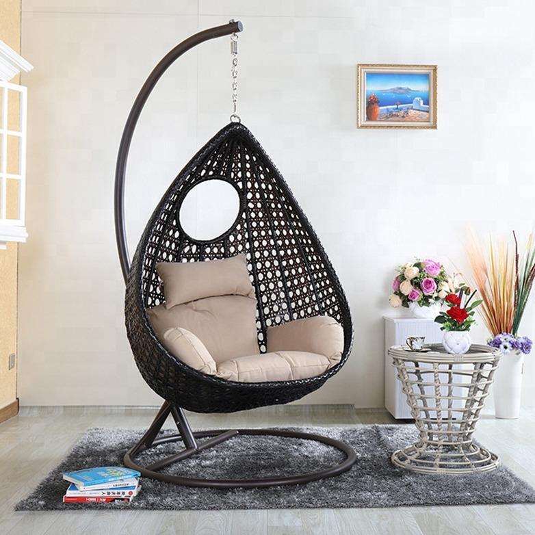hindoro outdoor indoor balcony garden patio furniture single seater swing brown color hanging swing