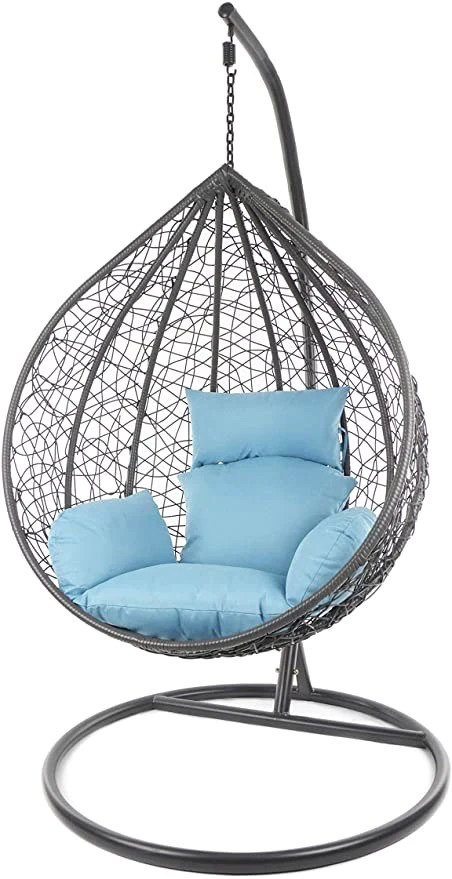 hindoro outdoor indoor balcony garden patio swing chair with stand and cushion set black with blue cushion