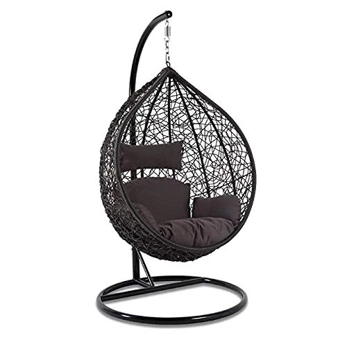 hindoro outdoor indoor balcony garden patio swing chair with stand and cushion set