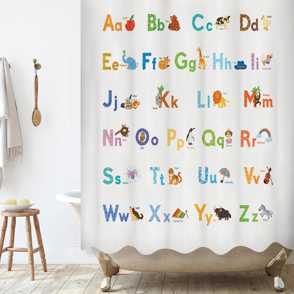 abc learning alphabet shower curtain set