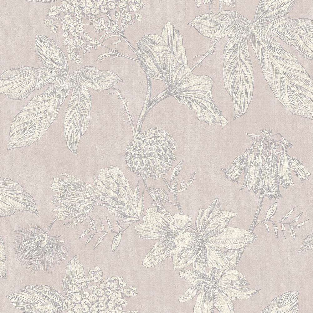 A Vintage Floral Wallpaper Outlined With Metallic Grey Highlights With A Subtle Pink Background Paste The Wall Gerrykeane