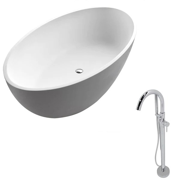 anzzi cestino 5 5 ft solid surface classic soaking bathtub in matte w new vision living