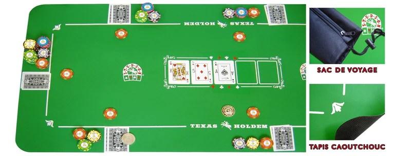 tapis de poker neoprene vert 126 x 57 cm