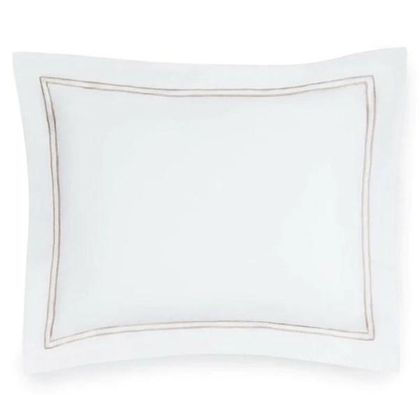 sferra grande hotel sheets duvet covers pillow shams white taupe