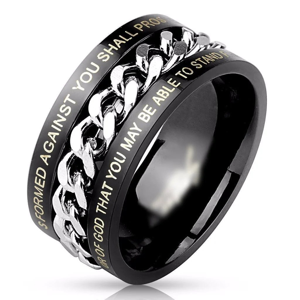 Black Chain Bible Verse Ring 9 The Biker Nation