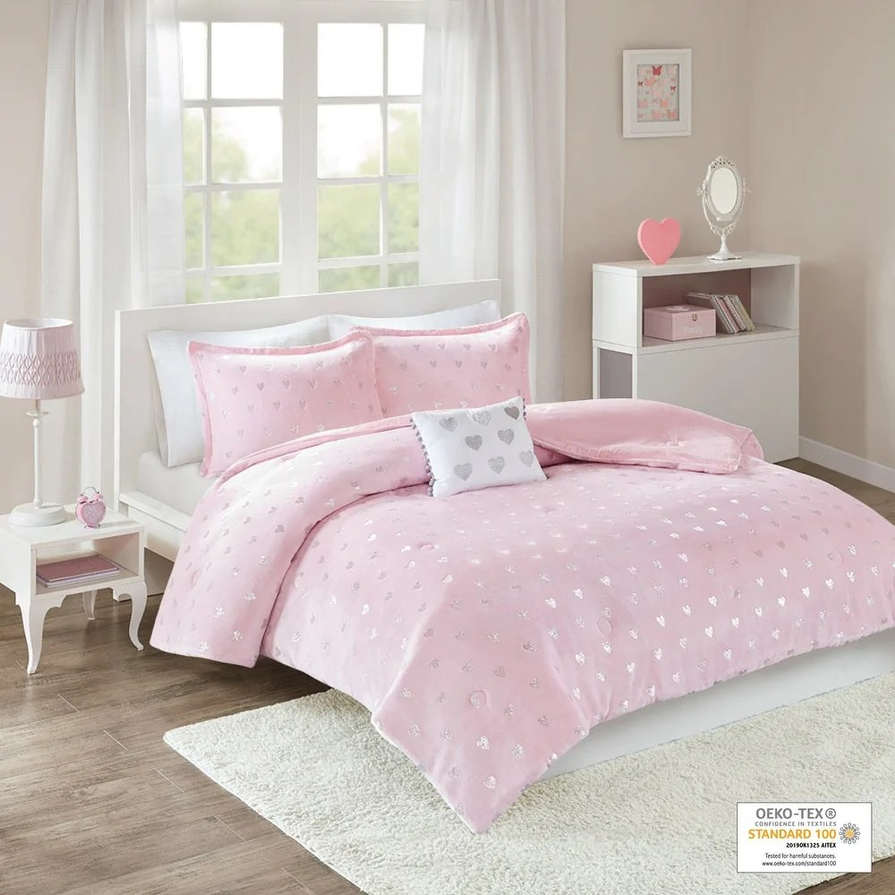 jenna pink metallic heart printed plush comforter set by intelligent design