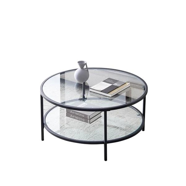 round glass coffee table for living