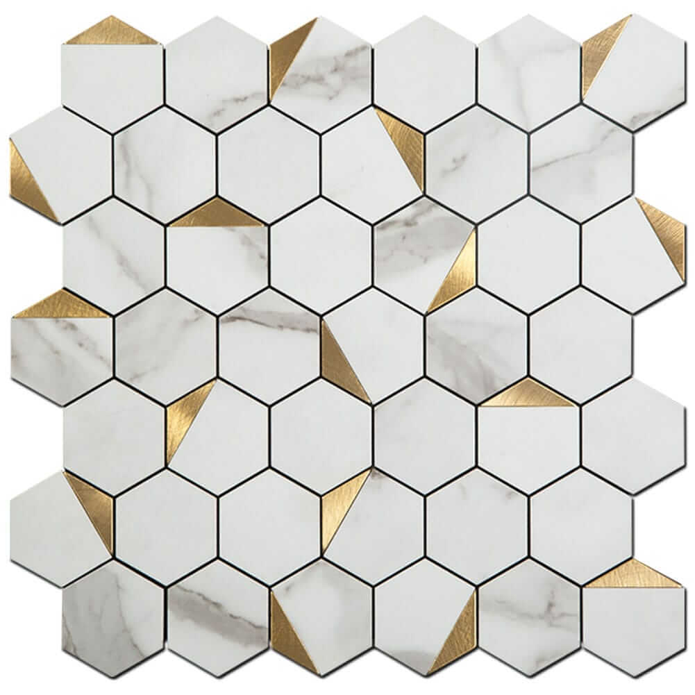 white marble grain with gold hexagon peel and stick backsplash tile 5 pack