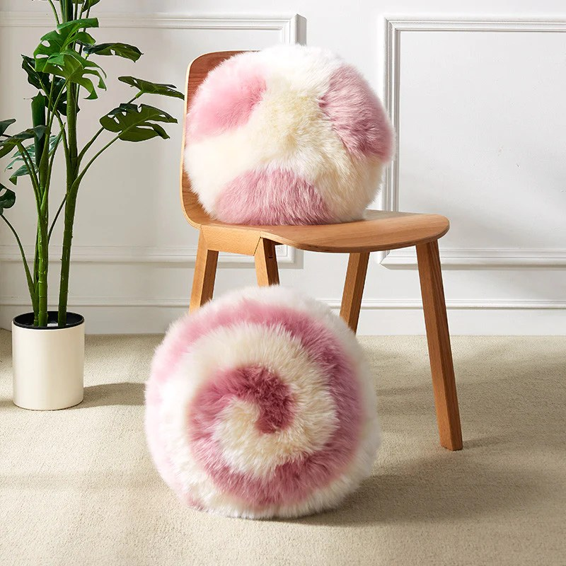 lollipop pink round fur cushion chair