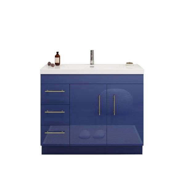 elsa 42 inch free standing modern bathroom vanity with left side drawers