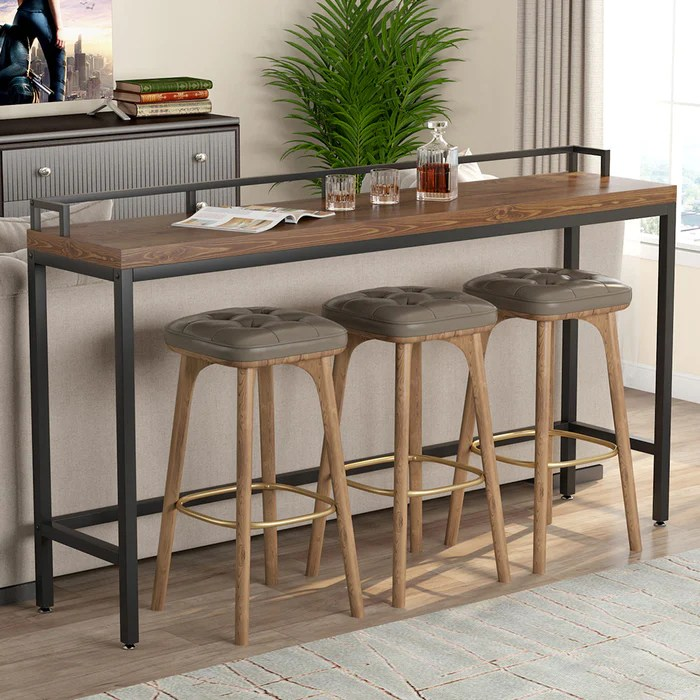 tribesigns 70 9 inch extra long solid wood console table behind sofa couch