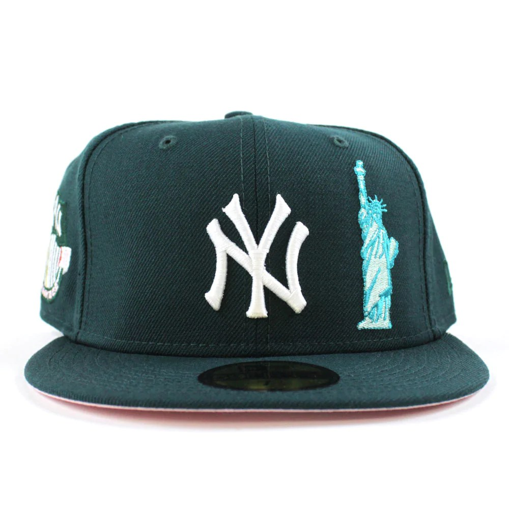 New York Yankees Apple Statue Of Liberty National Monument New Era 59fifty Fitted Hat Green Pink Under Brim Big Apple New Era Caps Ny Yankees Red Under Visor Fitteds Ecapcity