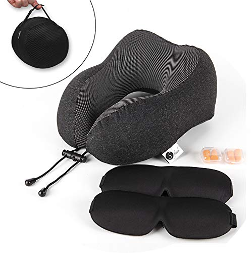 softouch travel pillow premium pure memory foam neck pillow comfortable breathable cloth cover washable travel kit with 2 quality eye masks 2