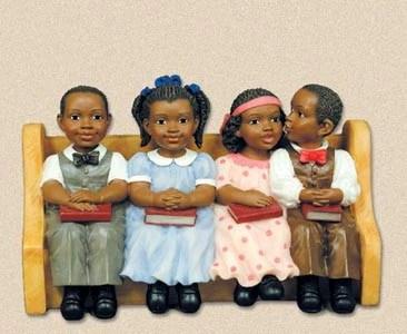 Church Pew Sunday School Kids Figurine Its A Black
