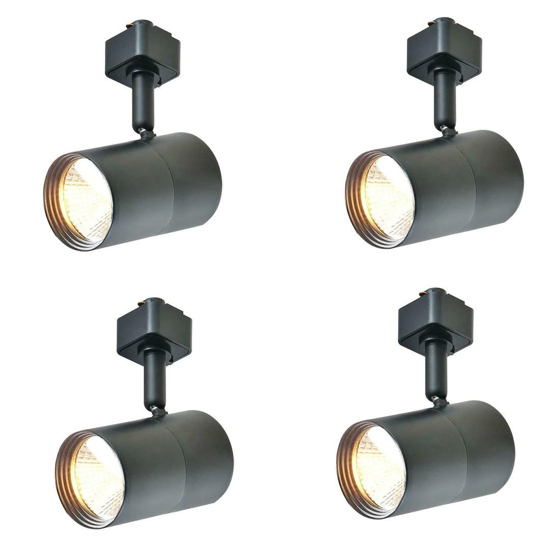 4 pack hampton bay 1 light black led mini linear track lighting head 805039