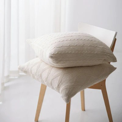 knitted jacquard off white throw pillow covers