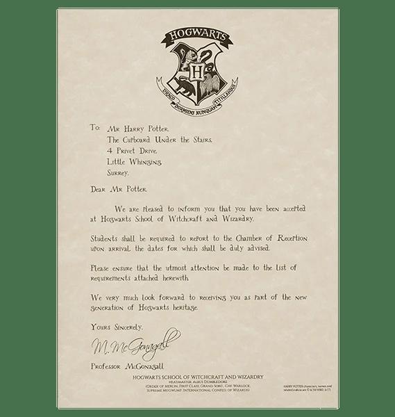 personalised hogwarts acceptance letter