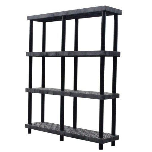Shelving   Heavy Duty Plastic   4 Shelf   TopShelfGarage com   Top     heavy duty 4 shelf storage shelving unit with ventilated shelves