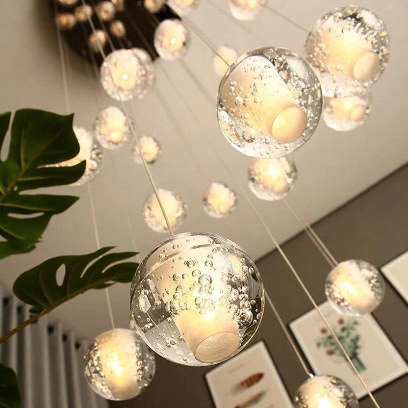 crystal bubble ball chandelier multi pendant lights for staircase high ceiling entrance