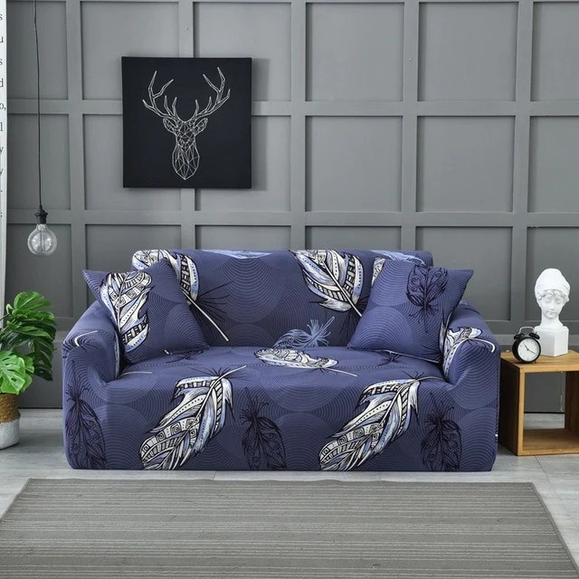 sofa cover navy blue with white leaves