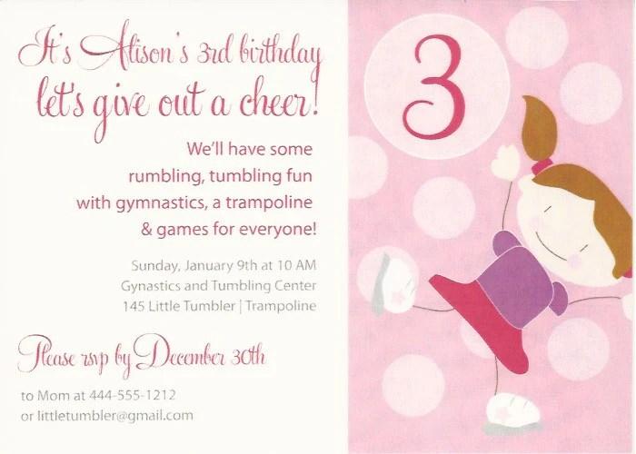 gymnastics kids birthday party invitation