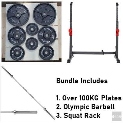 full home set squat rack barbell 100kg