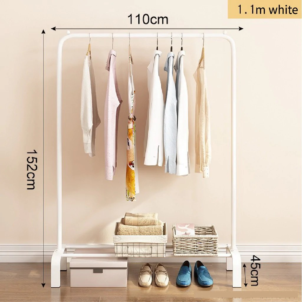 110cm single double pole strong steel structure laundry rack cloth or