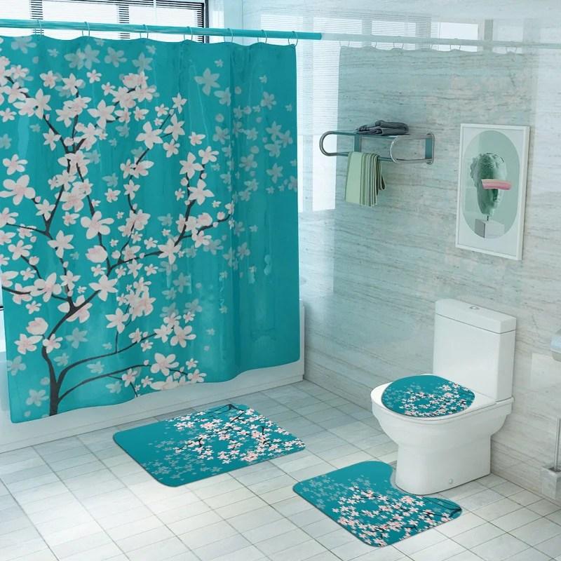 cherry blossoms print fabric shower curtains bathroom curtain set flow