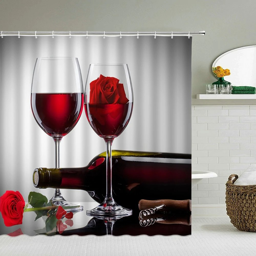 red wine shower curtain waterproof bathroom curtain 3d printing polyes