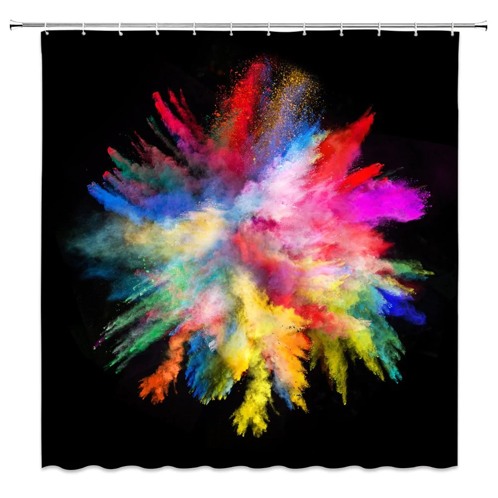 colorful shower curtain art decor watercolor abstract beautiful ink bl